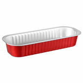 Barquette rectangle rouge en aluminium - 200 ml - 16.5x6.5x3(h)cm Pack de 100 unités