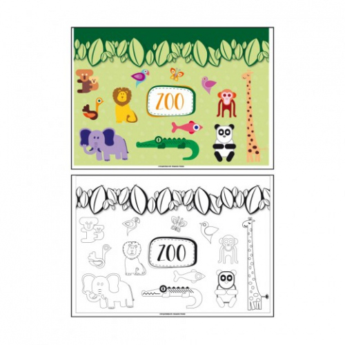 Set de table à colorier 2 faces- modèle Zoo - 31x43 cm - Carton de 1000 unités