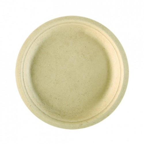 Assiette en cellulose naturelle fibre de canne sucre naturel 26 cm car - Fibre de canne a sucre ...