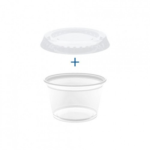 Pots et couvercles transparents 120 ml - Pack de 1200 sets