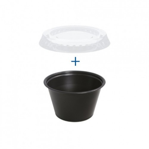Pots NOIRS et couvercles transparents 120 ml - Pack de 1200 sets