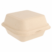 Coque à Burger en cellulose naturelle fibre de canne à sucre  -Naturel - 15.2x15 cm- carton de 600 unités