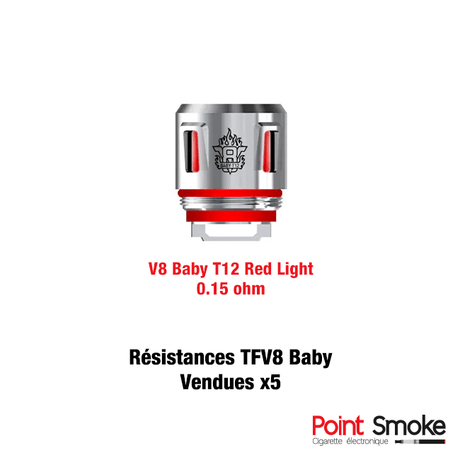 Résistances V8 Baby T12 Red Light de Smoktech