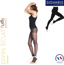 Collant contention Sigvaris Styles Transparent (Divin Eclat) Pied Ouvert Classe 2