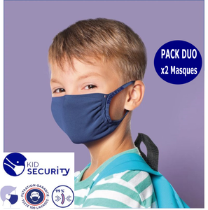 Pack DUO Masques barrière Enfant lavable Kid Security Thuasne