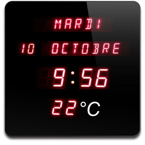 Horloge Calendrier Digitale Rouge