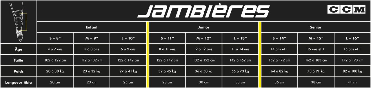 Guide de taille jambières CCM hockey Pro Patinage