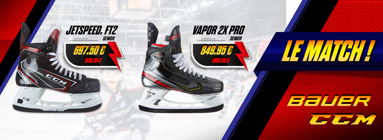 Patins hockey Bauer Vapor 2X Pro ou patins hockey CCM JetSpeed FT2