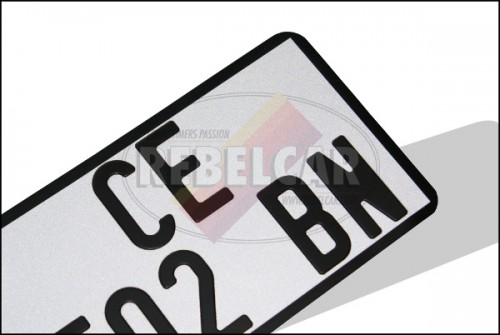 Retro-reflective WHITE motorcycle license plate, US size 175x100 mm, WITH BLACK BORDER