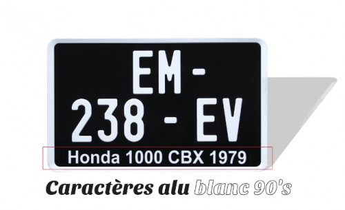 BLACK MOTORCYCLE plate 210x130 mm characters ALU WHITE, WITH LISERÉ WHITE