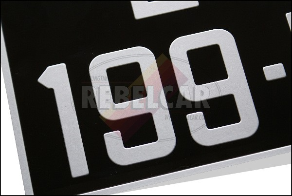 BLACK 300x200 mm license plate with SILVER DIGITS AND BORDER, plus hole of 22 mm diam.(spacing between the middle of the hole to the upper border = 27,5 mm)