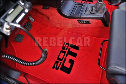 RED VELVET 205 GTI floor mats set with CENTRAL HORIZONTAL BLACK LOGOS and RED BORDER