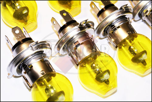 Set of 2 bulbs H4 headlight with yellow globe 12V 55/60W