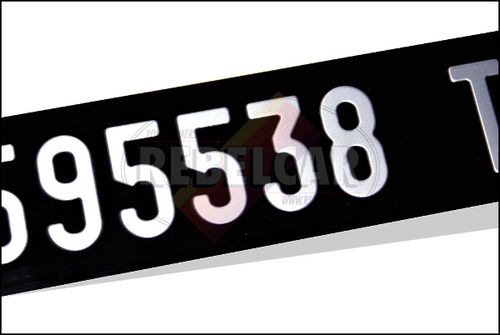 BLACK Italian number plate collection front size 26,5 x 6,5 cm ALU GRAY, NOT LISTED