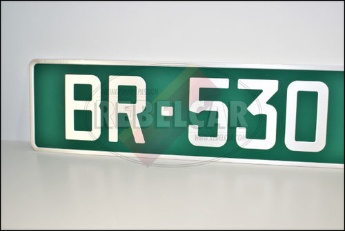 GREEN DIPLOMATIC stamped car plate, FORMAT 52x11 cm with CLASSIC GRAY characters, WITH GRAY LISTEL