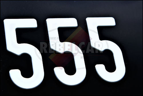 BLACK bike 170x130 mm license plate with WHITE DIGITS, WITHOUT BORDER