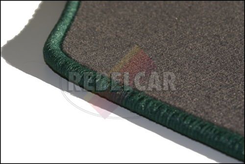 GREY 205 GRIFFE VELVET floor mats set with GREEN GRIFFE LOGO and GREEN BORDER