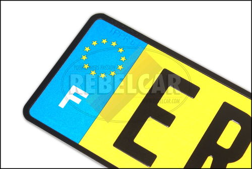 Yellow aluminum retro-reflective 520x110 mm license plate with BLACK BORDER and EU France logo on the left