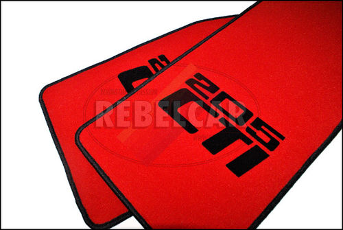 RED VELVET floor mats set with BLACK BORDER and BLACK CENTRAL HORIZONTAL LOGOS for 205 CTI (CABRIOLET)