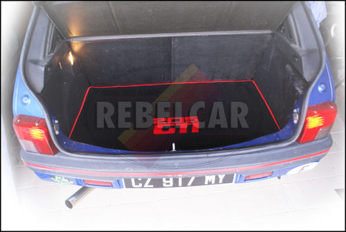 VELVET 205 GTI BLACK BOOT mat with RED BORDER and RED CENTRAL HORIZONTAL LOGOS