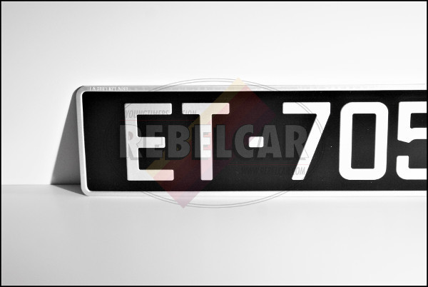 BLACK 520 x 110 mm license plate with GREY DIGITS and GREY BORDER