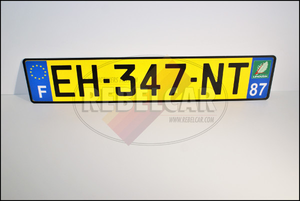 YELLOW aluminum license plate 52 x 11 cm with EU F logos and department of your choice