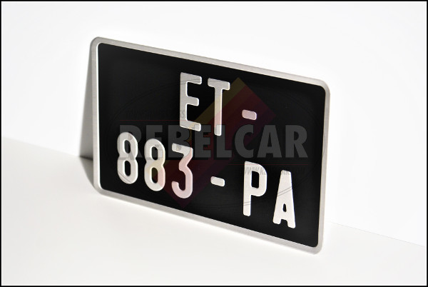 BLACK aluminum 210x130 mm license plate with GREY digits and WITH GREY EMBOSSED BORDER