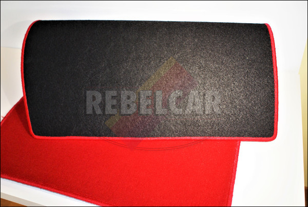 VELVET 205 GTI RED BOOT mat with RED BORDER and BLACK CENTRAL HORIZONTAL LOGOS