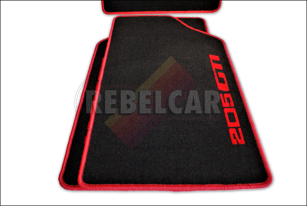 205 GTI BLACK velvet floor mat set with RED LATERAL VERTICAL LOGOS - made on demand (making time from 6 to 8 weeks)