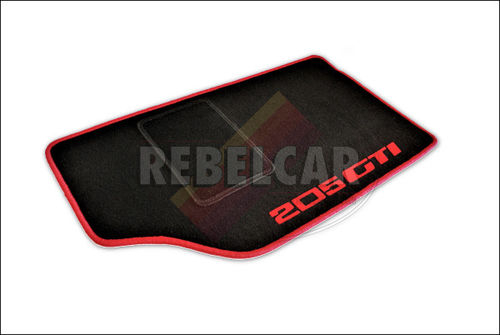 VELVET BLACK 205 GTI floor mats set with RED VERTICAL LOGOS, RED BORDER and BLACK HEEL PAD
