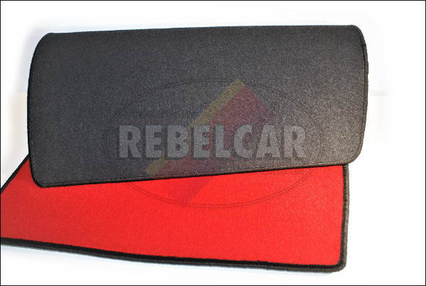VELVET 205 CTI CABRIOLET (CONVERTIBLE) RED BOOT mat with BLACK BORDER and BLACK CENTRAL HORIZONTAL LOGOS