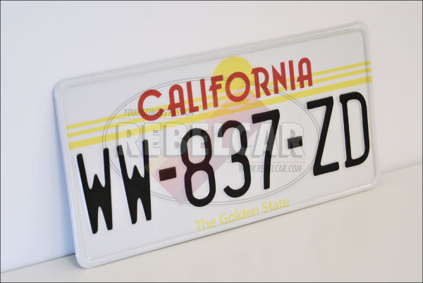 Plaque US California Sunset / The Golden State emboutie, avec BORDURE BLANCHE, format 300x150 mm