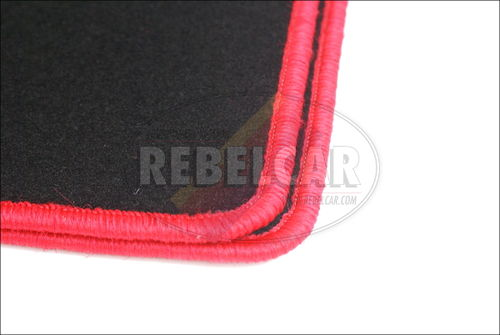 205 Open black velvet carpet set with central red and cream seams and logos