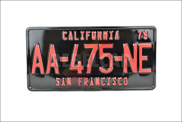 US CALIFORNIA SHINY BLACK non-reflective license plate, with BLACK BORDER (CALIFORNIA embossed on the top), size 300x150 mm / 12x6""