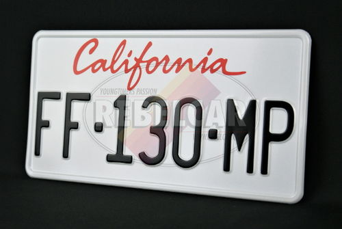 Plaque California actelle WHITE with white border and BLACK REGISTRATION, US size 300x150 mm