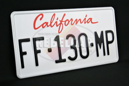 License Plate US California CURRENT retro-reflective white with GREAT California italic top, BLACK REGISTRATION, WHITE BORDER, size 300x150 mm