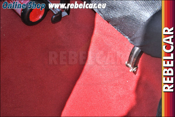 RED thermoformed carpet for Peugeot 205 GTI with phase 1 and phase 2 central tunel pieces
