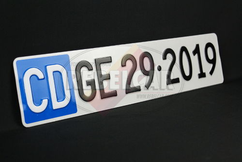 GENEVA DIPLOMATIC license plate EXACT SIZE 50 x 11 cm, WHITE letters CD over BLUE SQUARE and BLACK TEXT - reg. / text of your choice