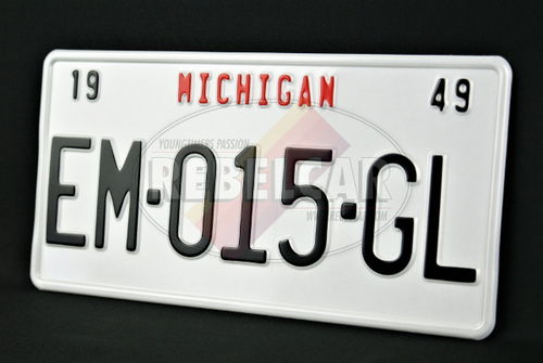 US license plate WHITE REFLECTIVE, with WHITE BORDER and optional CUSTOM TOP SLOGAN, size 300x150 mm / 12x6""