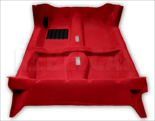 RED thermoformed carpet for Peugeot 205 CTI (CABRIOLET, meaning CONVERTIBLE) + 2 pieces for the central tunnel (phase 1 and 2 provided)