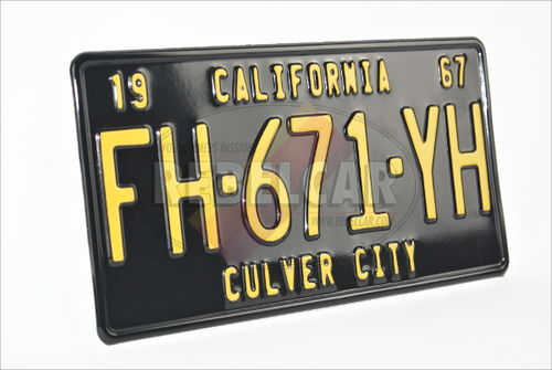 US license plate CALIFORNIA BLACK embossed, with BLACK BORDER, size