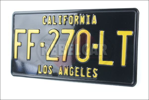 US license plate CALIFORNIA BLACK embossed, with BLACK BORDER, size 300x150  mm (CALIFORNIA text on the top)