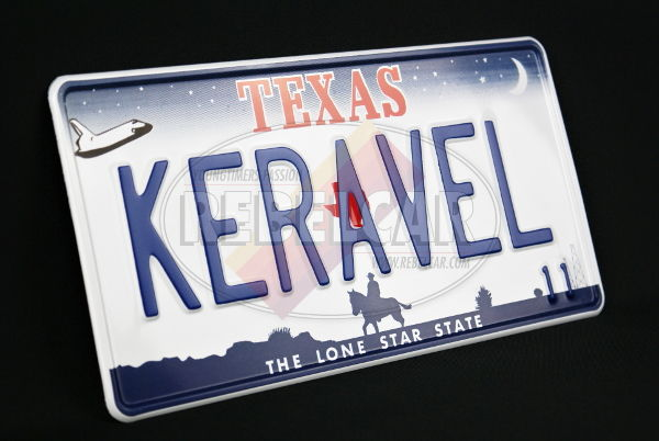 USA Texas The Lone Star State non-reflective license plate with a shuttle, a horseman, oil wells, WHITE BORDER, size 300x150 mm