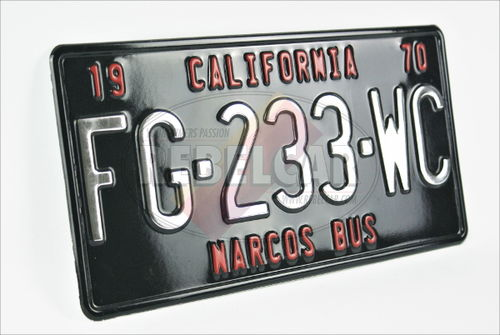 US BLACK non-reflective aluminum plate 300x150 mm with BLACK BORDER and optional TOP CUSTOM TEXT(S)