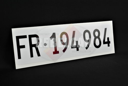 Front swiss VINLYE ADHESIVE license plate, ACCURATE SIZE 30x8 cm, round corners