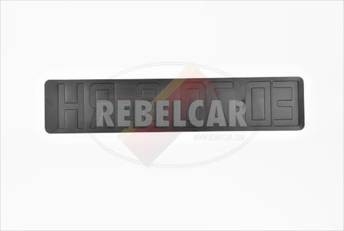 Car plate BLACK front for Berlinette A110 format 435x90 cm ALU GRAY, WITH LISERÉ GRAY and clear space in the center (for light folding)