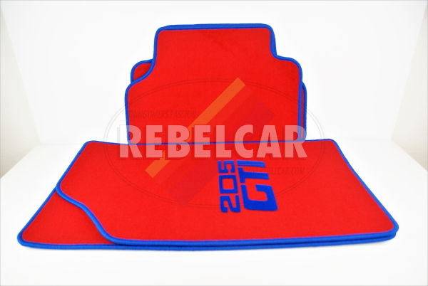 RED VELVET 205 GTI floor mats set with BLUE CENTRAL HORIZONTAL LOGOS and BLUE BORDER, making time 5 to 8 weeks (made on demand)