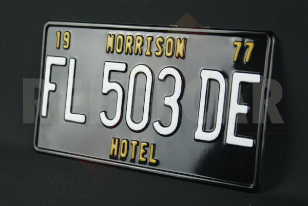 US BLACK Embroidered License Plate with BLACK Border Size 300x150 mm, CUSTOM TEXT (S)