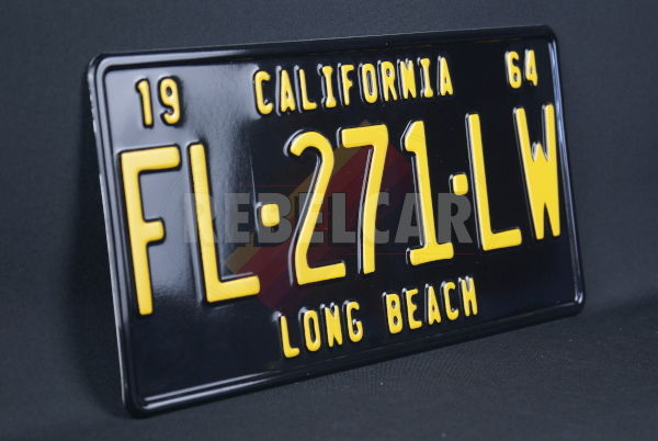 """US CALIFORNIA SHINY BLACK non-reflective license plate, with BLACK BORDER (CALIFORNIA embossed on the top), size 300x150 mm / 12x6"""""""