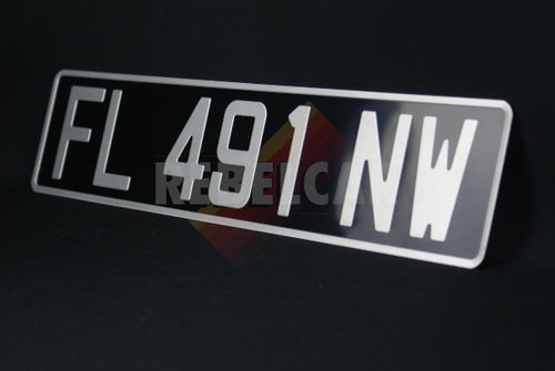 BLACK 455x110 mm license plate with GREY DIGITS and GREY BORDER